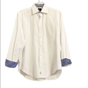 TAILORBYRD White Blue Contrast Cuff Button Down